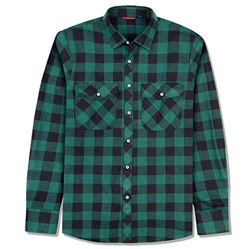 J.VER Men's Flannel Plaid Shirts Long Sleeve Regular Fit Button Down Casual Black/Green