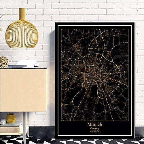 Serthny Schilderij schilderijen, München Duitsland zwart & Amp; Gold City Light Maps Custom Wereld Stadsplan Poster kunstdrukken op canvas in Scandinavische stijl Wall Art Home Decor 60x90cm (23.62×35.43inch)no frame