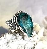 Daintree- CHRYSOCOLLA (2.5 x 1.6 cm) aka Stone of the Goddess Natural Gemstone, 925 Sterling Silver, Handmade Earthy Style Ring Sz 8.0 Jewelry.