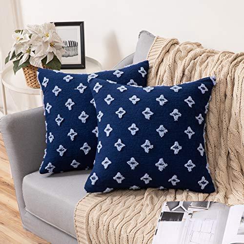 MIULEE 2 Piezas Funda de Cojines con Flores Elegante Cremallera Invisible Funda de Almohada Color Sólido Moderna Decorativa para Habitacion Sofá Cama Dormitorio Oficina Sala de Estar 45X45cm Azul