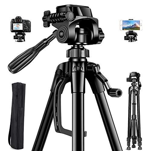 Aitsite Kamera Stativ, Leichtes-Reise Handy Stativ aus Aluminium, Smartphone Stativ, mit 3 Wege-Schwenkkopf, mit Handyhalterung und Tragetasche.