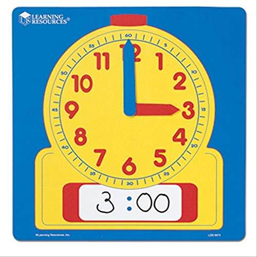 """Learning Resources Write & Wipe Demonstration Clock, Easy-to-Read, 12"""" Square Clock, Ages 6+"""