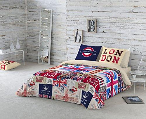 NATURALS Britain Funda nórdica, algodón, Multicolor, Cama 105 (180 x 220 cm + 45 x 120 cm)
