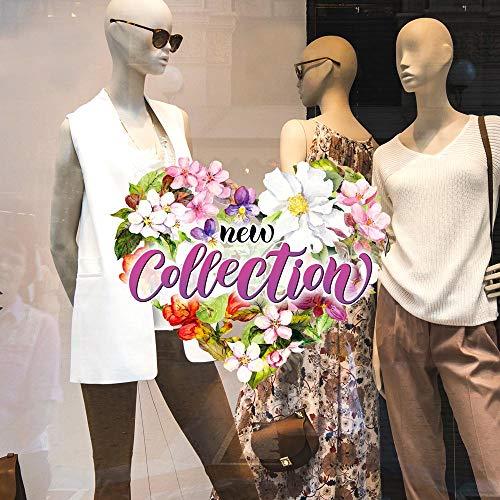 CRNC0052 - Pegatina para ventana de la colección Primavera Verano, 100 % reutilizable, decoración para escaparates de tiendas, escaparates sin pegamento, reposicionable y reutilizable a voluntad