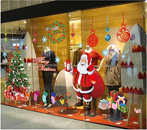 TBSCWYF Grande Árbol De Navidad Blanco Alces Pegatinas Navidad Ventana de Pared Feliz Navidad Pegatinas Decorativas Vinilos Navideños de Puerta Extraíble para Escaparate Decoracion (A) ⭐