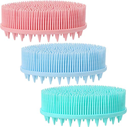 3 Pieces Exfoliating Silicone Body Scrubber 2 in 1 Bath and Shampoo Brush Silicone Bath Body Brush with Soft Brush Head and Hard Massage Ball for Skin Exfoliation, 3 Colors