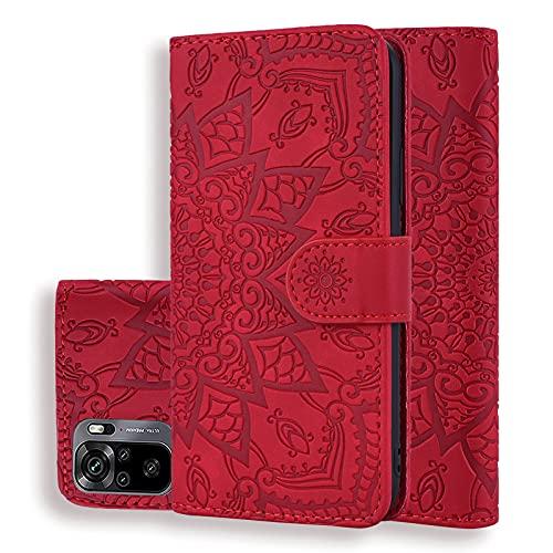 Handyhülle für Xiaomi Redmi Note 10 4G / Note 10S Hülle PU Leder Schutzhülle Flip Brieftasche Hülle Cover mit Tasche Magnetschnalle, Klapphülle für Xiaomi Redmi Note 10 4G / Note 10S, Rot