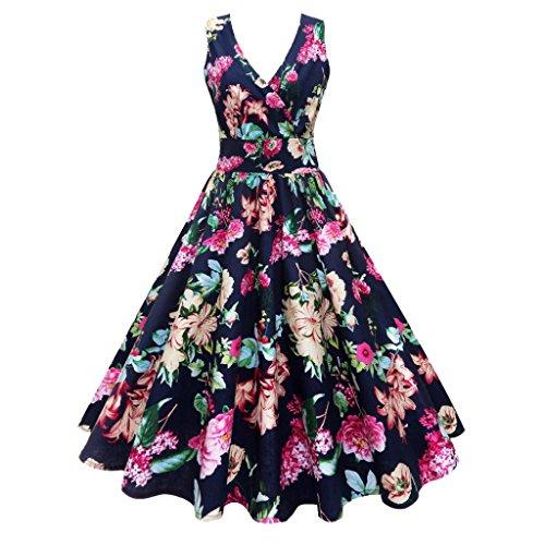 VEMOW Elegante Damen Abendkleider Plus Size Blumendruck Vintage Kleid Sleeveless beiläufige tägliche Partei Prom Swing Faltenrock Dress Cocktailkleid(Marine, 40 DE/M CN)
