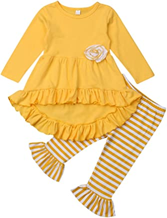 48e04d70737 2Pcs Toddler Baby Girl Clothes Ruffle Flare Tunic Dress Long Sleeve Tops  Shirt+Striped Bell