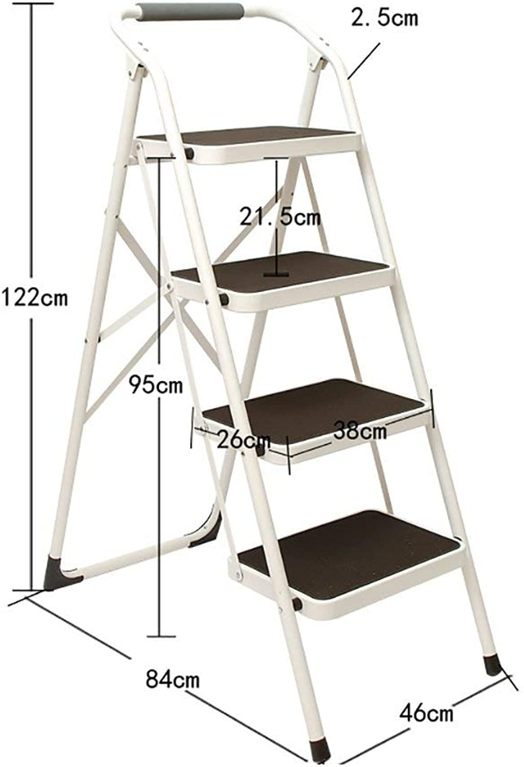 XITER-Step Stool folding chair with handle and non-slip portable stepladder footstool storage rack flower stand (color   White, Size   4 Tier)
