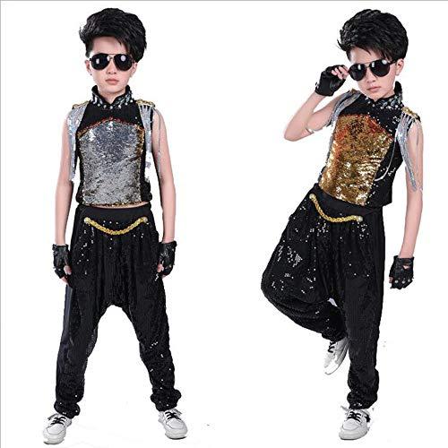 MoyuqiTm Jungen-Kostüm, modern, Jazz, Hip-Hop, Tanzkleidung, für Kinder, Tanz-Kostüm, Bühnenbekleidung, Jazz, Tanzen (130 cm, schwarz)