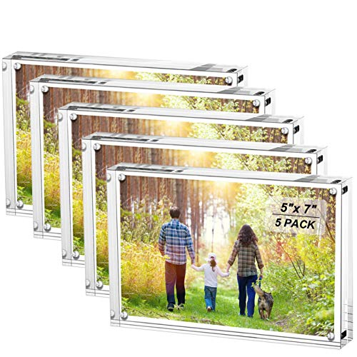 Boxalls 5x7 Inches Acrylic Picture Frames- 5 Pack, Desktop Frameless Photo Frames with Magnetic, Double Sided Transparent (5 Pack)