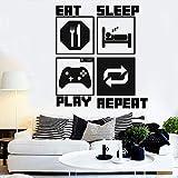 Eat Sleep Play Repeat Player pared calcomanía juego pared calcomanía niños dormitorio sala de juegos vinilo pared pegatina