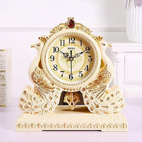HYY-YY Europäische klassische Vintage-Pfauen-Uhr für Wohnzimmer, Schlafzimmer, Villa Veranda, Nachttisch, Schaukel, 31,5 x 31 x 6 cm (Farbe: europäischer Stil, Gold)