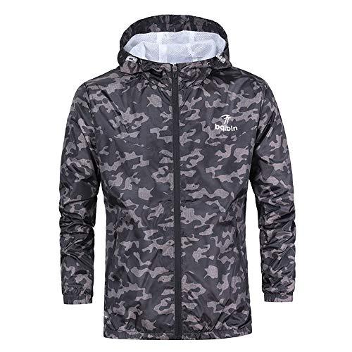 Kaiki Tarnung Mantel Kapuzenjacke Männer Regenjacke Herren Wasserdichte Jacke Atmungsaktive mit Kapuze(X-Large,Schwarz)