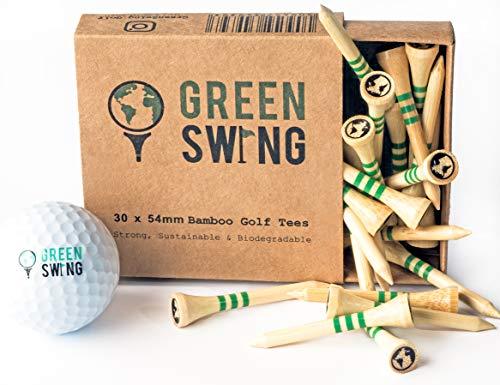 Green Swing Bambus-Golf-Tees, 54 mm, robust, nachhaltig, biologisch abbaubar, 30 Stück