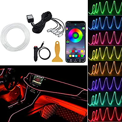 AKEPO Interior Car Lights, RGB LED Car Strip Lights/Bluetooth APP Controlled 5-in-1 Ambient Lighting Kits with 236 inches Fiber Optic and Sound Active Function