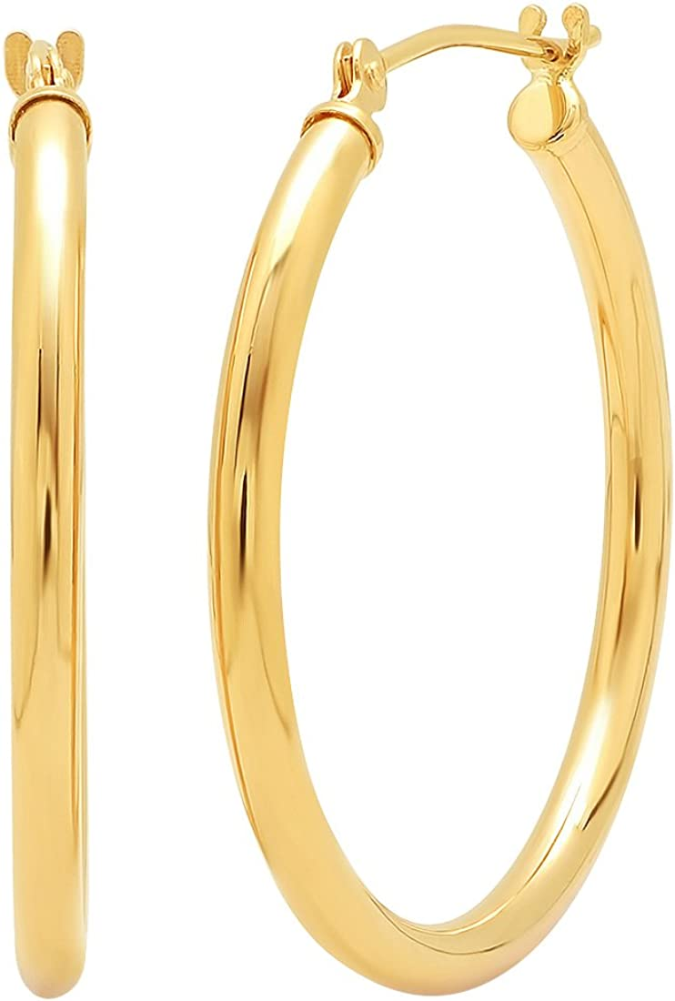 14K Gold 1 inch Diameter Round Hoop Earrings for Women