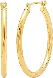 14K Gold 1 inch Diameter Round Hoop Earrings