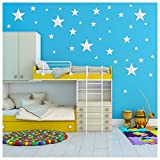 50 Pcs Star Decor 3D Stars Mirror Wall Stickers DIY Mixed Size Composed Wallpaper Paste Decals for Nursery Bedrooms Living Room Decor (Silver)