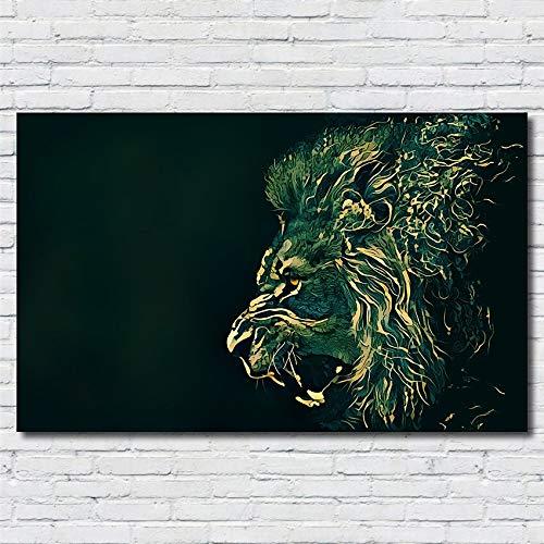 SDFSD Cartel de Arte de Pared Abstracto Animal Salvaje Africano Feroz león Verde Rugido Rugido Lienzo Pintura decoración del hogar Sala de Estar Imagen 60 * 110 cm