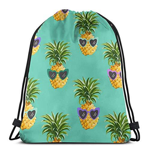 EU Ananas lustige Brille Kordelzug Rucksack Original Tragetaschen für Fitnessstudio Wandern Travel Beach