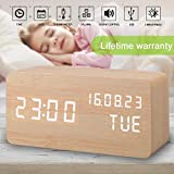 Alarm Clock, Wood Alarm Clock Digital Clocks for Bedroom Beside...