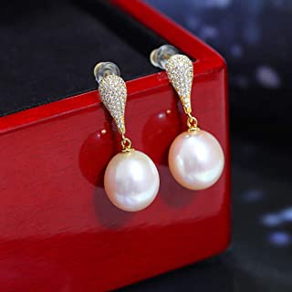 zlw-shop Dangle Earrings Handpicked 925 Sterling Silver Round White Freshwater Cultured Cubic Zirconia Earrings for Women ...