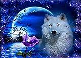 Kit de pintura de diamantes 5D, DIY pintura al oleo por numeros diseño de lobo blanco en la luna,cuadros punto de cruz kit 40 x 30 cm