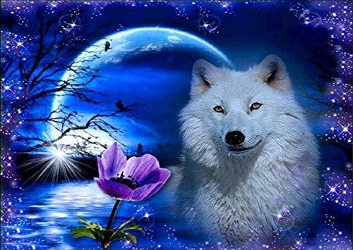 DIY 5D Diamant Malerei Set, Full Diamond 5d diamant painting weißer Wolf im Mondlicht, malen nach zahlen kinder Stickerei Kreuzstich Kunst Handwerk Leinwand Wanddekoration 40 x 30 cm