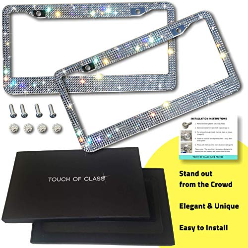 Bling License Plate Frame Set: Touch of Class Diamond Cut Rhinestone License Plate Frame for Women Cute /& Sparkly Bedazzled Stainless Steel Car Plate Frames Glitter Crystal Car Accessories 2 Pack