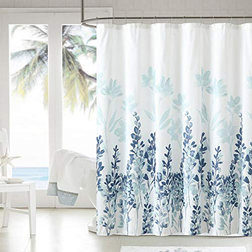Jasion Shower Curtain Set Blue Watercolor Plant Vine Leaves and Flowers Waterproof Fabric Bathroom Curtains Home Bath Decor with 12 Hooks 72 X 72 Inches