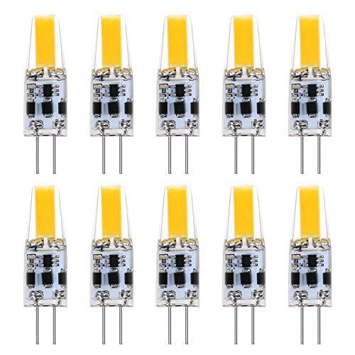 JIRVY G4 LED Lampen,10 Stück 3W LED Birnen Ersetzt 30W Halogenlampen,350LM,2800-3000K Warmweiß 12V-24V AC/DC LED Leuchtmittel,Kein Flackern Dimmbar G4 LED Birn, Stiftsockellampe Glühbirnen 10 er Pack