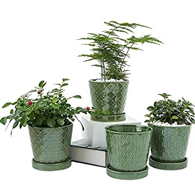"""Flower Planter –5""""inch Ceramic Plant Pots with Drainage Hole and Ceramic Tray - Gardening Home Desktop Office Windowsill Decoration Gift Set of 4 - Plants NOT Included"""