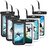 JOTO 6 uds. Bolsa Estanca Móvil Universal, Funda Impermeable para iPhone 12 Mini/Pro/Pro MAX/11/XS/XR/8 Plus/7 Plus, Galaxy Note10+/S20 Ultra/S20+/S10e, Huawei hasta 6,9' Diagonal -Negro/Claro