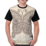 Man's T Shirts,Hand Drawn Abstract Butterfly Various Design Elements Flowers Hearts S