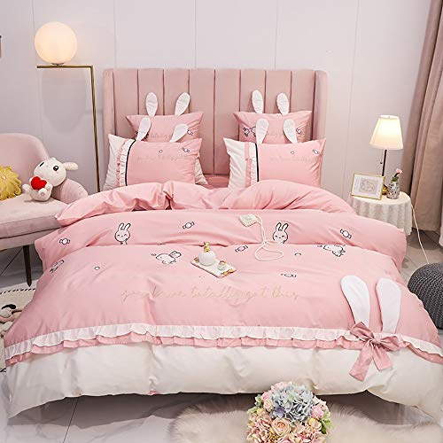 GGFHH 4 Pieces Textured Duvet Cover Set with Zipper Closure,100% Washed Microfiber Fabric Hotel Bedding-King Size(1 Duvet Cover +1 Bed sheet +2 Pillowcases)