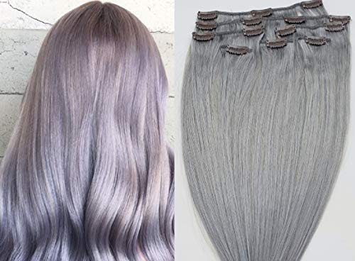 Hair Faux You 22' Clip in Hair Extensions Real Human Hair 100g Clip on for Full Head 7 pieces, 14 clips, Silky Straight Weft Remy Hair Color # Sterling Silver (Beautiful Silver Gray)