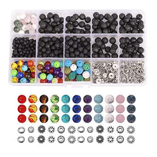 GLJYG Juego de cajas de cuentas de piedra de 8 mm, redondas, sueltas, cuentas de piedras preciosas para manualidades, pulseras, collares, fabricación de joyas
