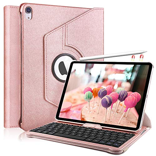 iPad Keyboard Case for iPad Pro 11.1, KVAGO 360 Rotating - Detachable Keyboard - PU Leather Stand - iPad Case with Keyboard, Rose Gold