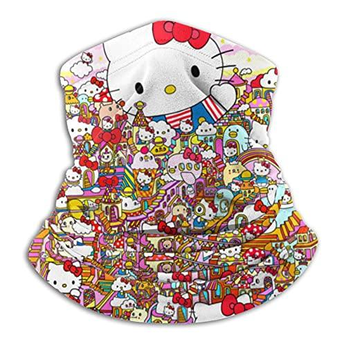 LvShen Hello Cartoon Kitty Protector de cuello de microfibra tiene las características de viento y calor y lleno de elasticidad bufanda facial ajustable para hombres y mujeres