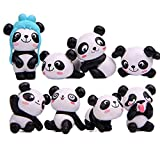 Weryffe Juego de 8 Piezas de Figuras en Miniatura Panda Divertida, de Resina, para cumpleaños Infantil