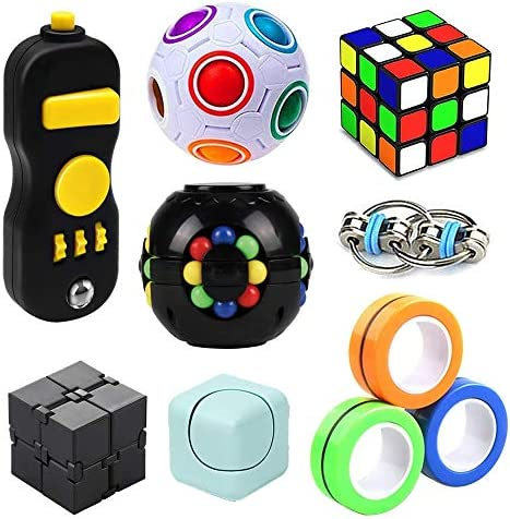 SweFuncy Fidget Toy Set 10 Pack Magic Cube Fidget Rings Infinity Cube Fidget Pad Flippy Chain product image