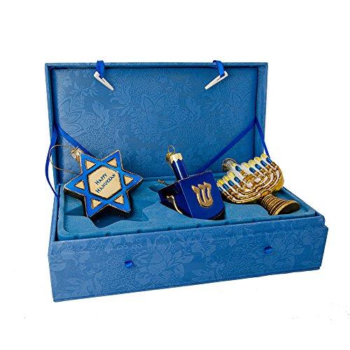 Kurt Adler Noble Gems Hanukkah Ornament 3-Piece Set