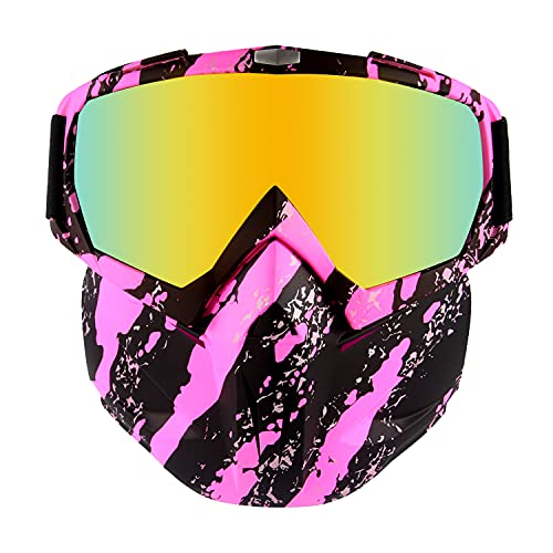 BOROLA Tactical Mask, Retro Motorcycle Goggles with Removable Face Mask, Safety Goggles Mask UV400 Protection Compatible for Nerf Elite Toy Gun (Pink Pattern)