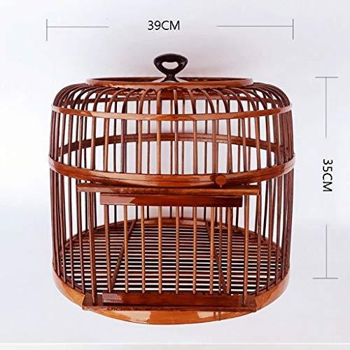 ZYLBDNB Jaulas para pájaros Grandes Jaula de pájaros Hecha a Mano Loro Canario Canario Adecuado for la cría de Aves jaulas para pájaros jilgueros (Color : Brown)