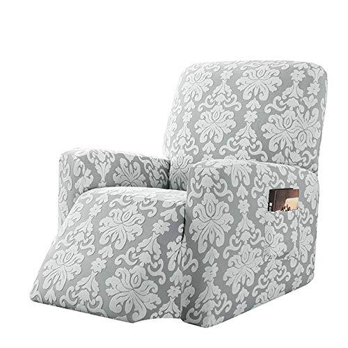 CLGTY Elasticizzato Copripoltrona Relax, Maglieria Jacquard Spandex Fodera per Poltrona Morbido Antiscivolo Lavabile Sofa Protettore per Bambini Animali-Grigio-reclinabile
