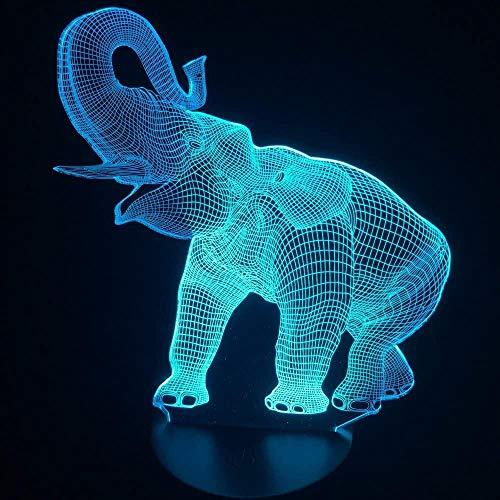 Lindo elefante 3D Ilusión Lámpara de mesa LED Luz de noche con forma de elefante animal Toque 7 colores Efecto de cambio Lámpara de pasatiempos para niños