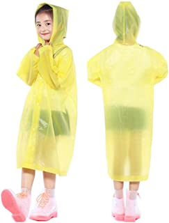 PERTTY 2 Pcs Kids Rain Ponchos Reusable Raincoats Portable Rain Wear with Hat Hood Unisex for 6-12 Years Old Children