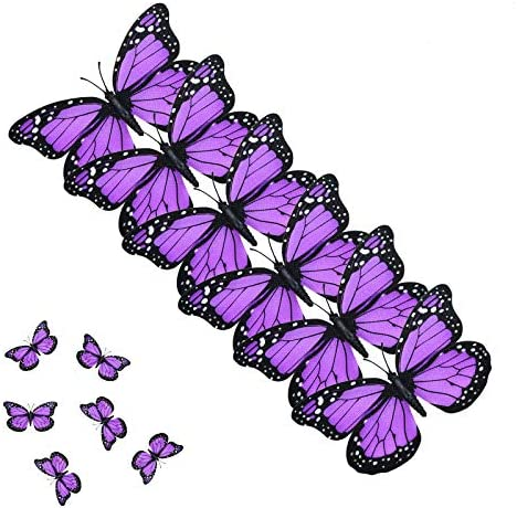 AQUEENLY Monarch Butterfly Decorations 4 72 Purple Premium Artificial Monarch Butterfly to Decorate product image